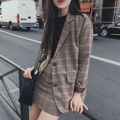 ROSEMARY - 格紋西裝外套 / A字裙子