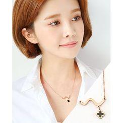 Miss21 Korea - Clover-Pendant Chain Necklace