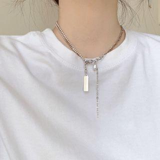 Calypso - Asymmetric Alloy Tag Pendant Necklace