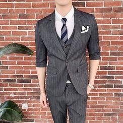 Hawoo - Suit Set: Elbow-Sleeve Striped Blazer + Vest + Dress Pants
