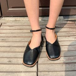 MERONGSHOP - Square-Toe Ankle-Strap Flats