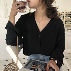 Alfie - 纯色V领宽松长袖雪纺衬衫