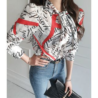 GUMZZI(ガムジー) - Scarf-Neck Patterned Sheer Blouse