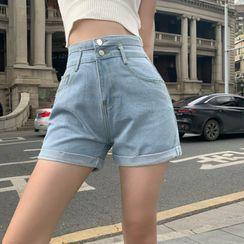Jeans Kingdom - High-Waist Denim Hot Pants