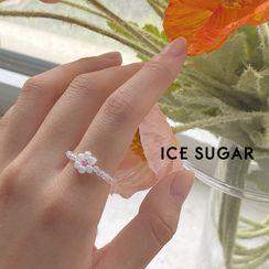 ICE SUGAR - Beaded Flower Ring