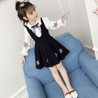 Qin Qin - Kids Set: Long-Sleeve Shirt + A-Line Pinafore Dress