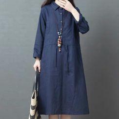 Glorieux - Long-Sleeve Midi Shift Dress