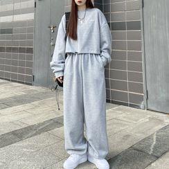 Dreamkura - Set: Drawstring-Hem Cropped Sweatshirt + Sweatpants