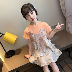 Qin Qin - Kids Short-Sleeve Floral Print Mini A-Line Dress