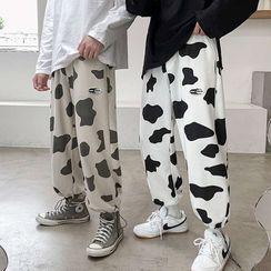 Macho - 抽绳脚口奶牛印花运动裤