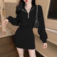 Windflower - Mini Sheath Half-Zip Hoodie Dress