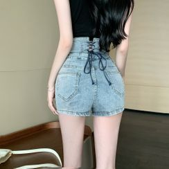 ever after - Ultra High-Waist Lace Up-Back Denim Hot Shorts