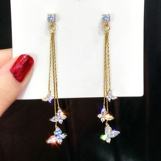 Catalunya - Rhinestone Butterfly Fringed Earring