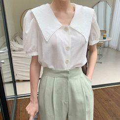Cherryville - Sailor-Collar Puff-Sleeve Blouse