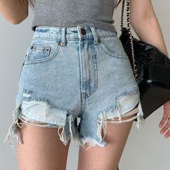 Jeans Kingdom - 高腰破洞牛仔熱褲