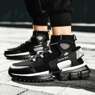 Auxen - 厚底系带网纱休閒鞋