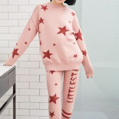 Cinni - Pajama Set: Star Print Knit Top + Drawstring Waist Pants