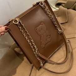 SUMME - Faux Leather Bear Embroidered Tote Bag