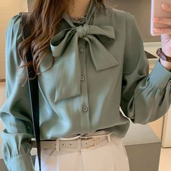 Muezz - Long-Sleeve Plain Bow Blouse