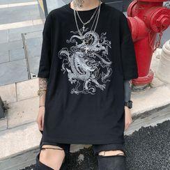 Banash - Dragon Print Elbow-Sleeve T-Shirt