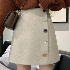 Rhames - 纽扣装饰高腰A字半身短裙