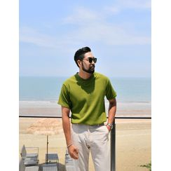 GERIO - V-Neck Ribbed T-Shirt
