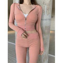 Ginger Girl - Set: Plain Cropped Zip-Up Hoodie + Sweatpants
