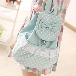 Canvas Love - Bow-Accent & Polka Dot Canvas Backpack