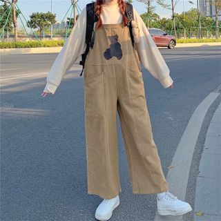 Sisyphi - Bear Embroidered Wide-Leg Jumper Pants