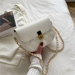 Tiff - Chain Quilted Saddle Crossbody Bag