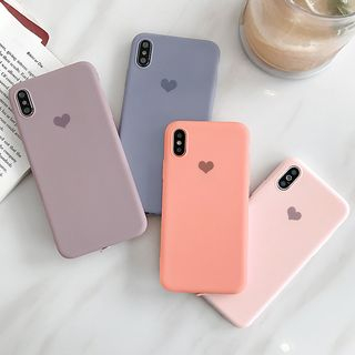 Mobby - Heart Print Phone Case - iPhone 6 / 6 Plus / 7 / 7 Plus / 8 / 8 Plus / X / Xr / Xs / Xs Max