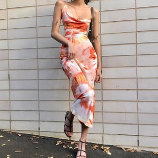Hotarium - Tie-Dye Spaghetti-Strap Midi Sheath Dress