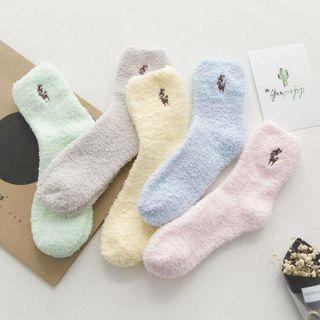 TAHLIA - Embroidered Coral Fleece Socks
