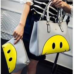 Aishang - Set: Smiley Face Print Tote + Zip Pouch