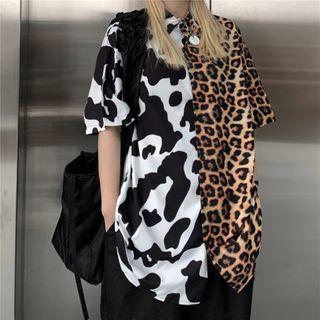 Shineon Studio - 牛图案拼接豹纹短袖衬衫