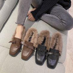 Hipsole - Block Heel Faux Fur Trim Loafers