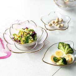 Hashi - Golden Trim Sakura Glass Salad Dish