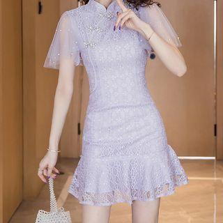 Yilda - 短袖缀饰蕾丝迷你A字旗袍连衣裙