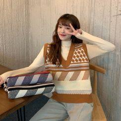 OGAWA - 图案V领针织马甲