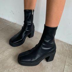 LIPHOP - Square-Toe Platform Sock Boots