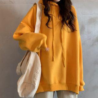 Ashlee - Hooded Oversize Side Slit Plain Sweatshirt