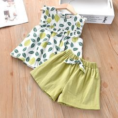 Galactica - Kids Set: Sleeveless Leaf Print Top + Wide-Leg Shorts