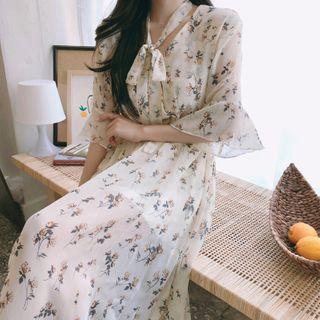 Eden's Corner - Tie-Neck Elbow-Sleeve Floral Print Midi Chiffon Dress