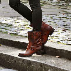 Avanti - Faux Leather Multi-Strap Ankle Boots
