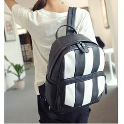 Merlain - Stripe Faux-Leather Backpack
