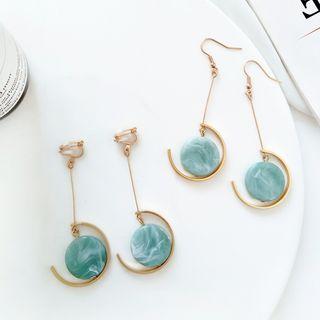 Isle of Green - Marble Disc Drop Earrings/ Clip-On Earrings