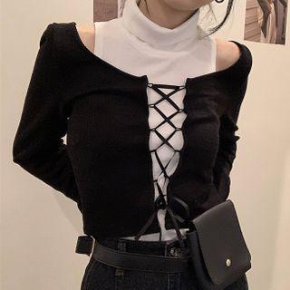 Ashlee - High-Neck Plain Tank Top + Long-Sleeve Plain Lace-Up T-Shirt