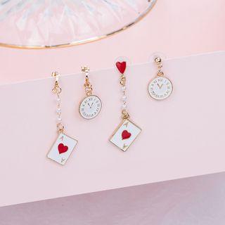 MUNGO - Asymmetrical Clock And Card Drop Earring