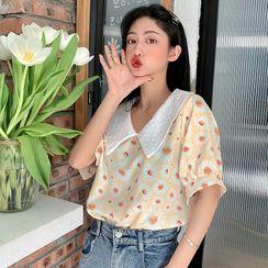 KAKAGA - Short-Sleeve Floral Print Contrast Collar Blouse