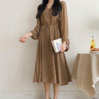 Leoom - Long-Sleeve Dotted Midi A-Line Dress